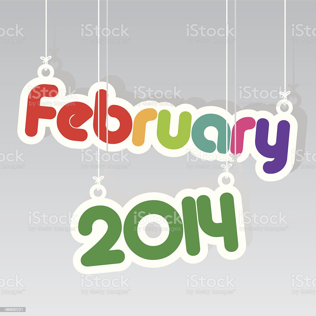 February 2014 Paper Hanging Sign.-eps10 vector royalty-free stock vector art