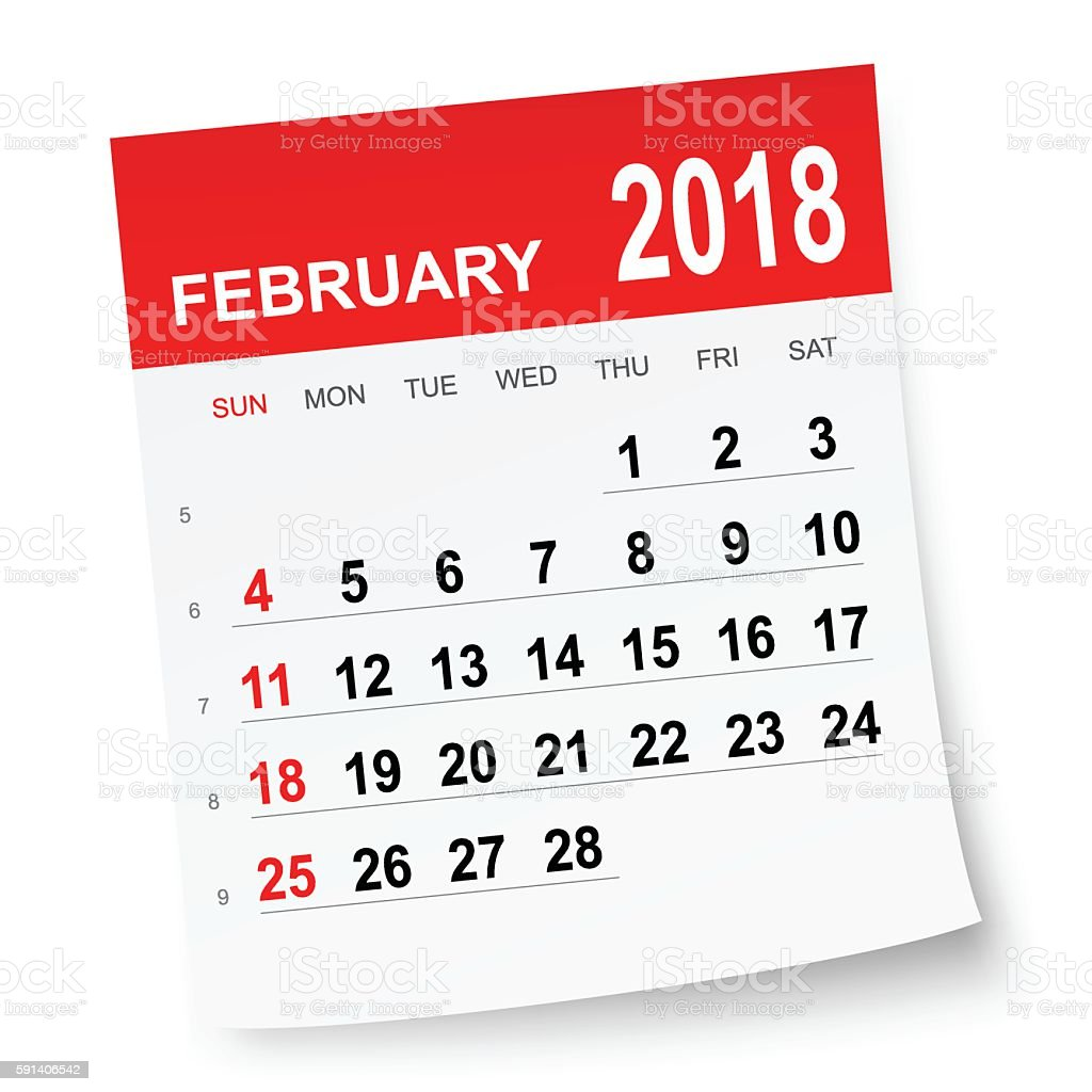 February 2018 Calendar stock vector art 591406542 | iStock