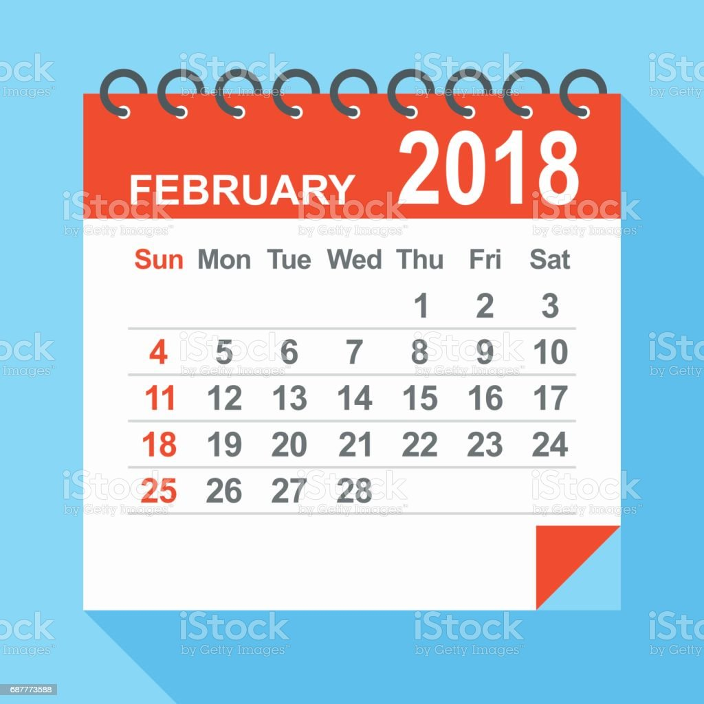 February 2018 Calendar stock vector art 687773588 | iStock