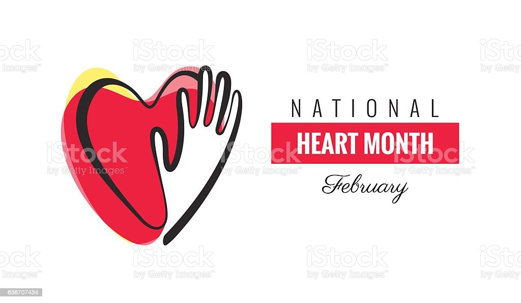 February National Heart Month Poster. Hands and hearts design. vector art illustration