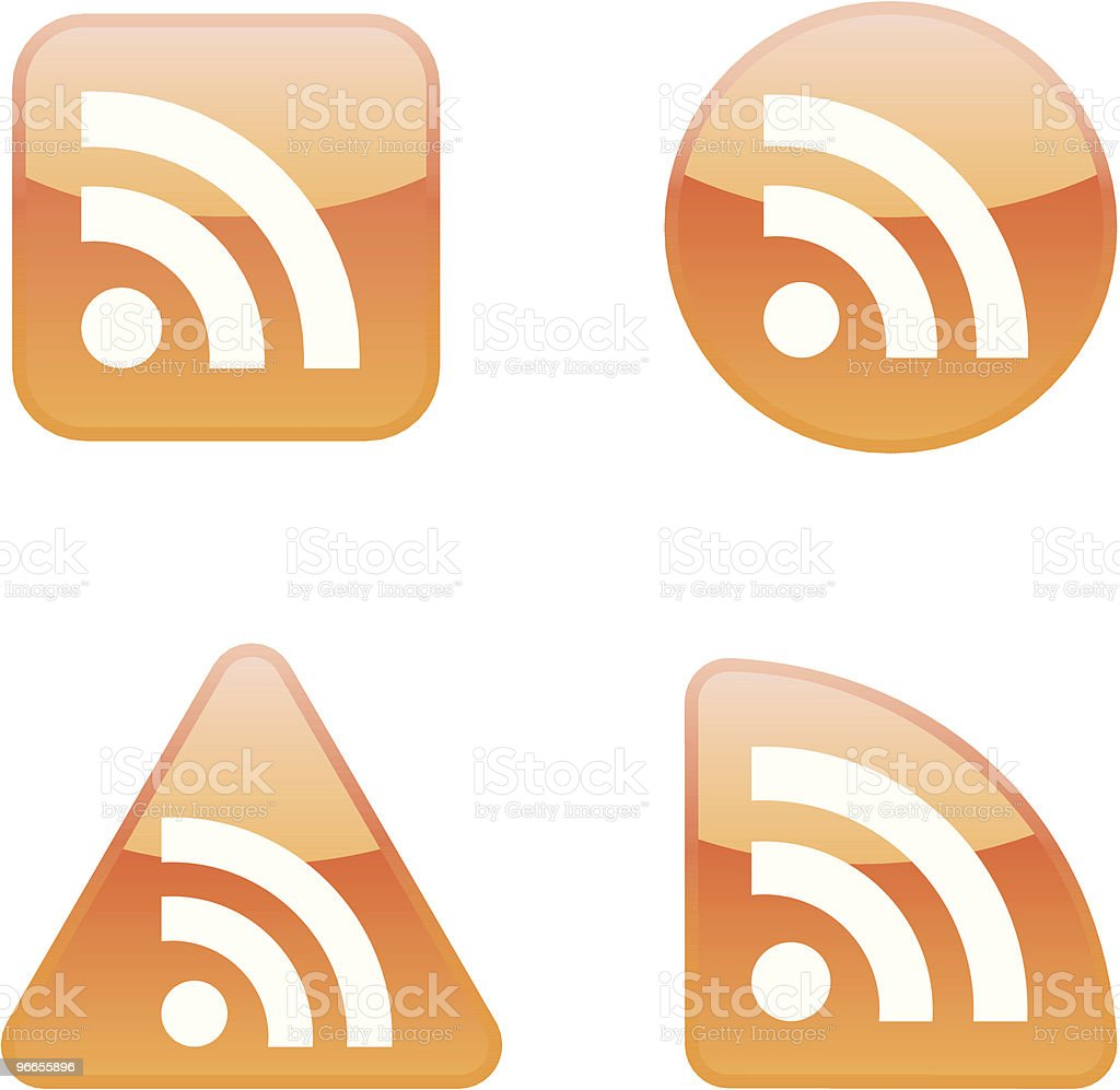 RSS Feed icon set vector art illustration