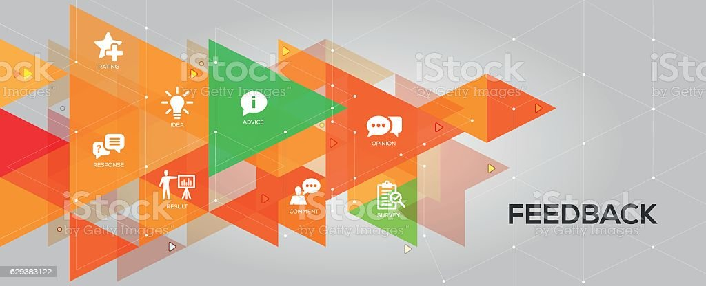 Feedback banner and icons vector art illustration