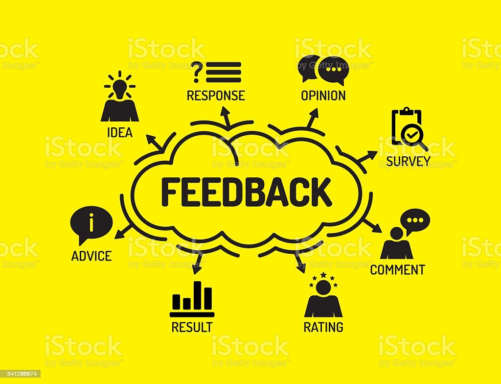 Feedback. Chart with keywords and icons on yellow background vector art illustration