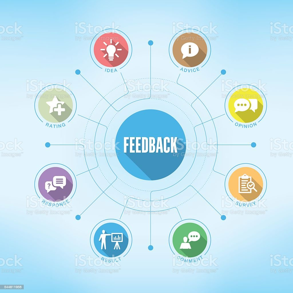 Feedback chart with keywords and icons vector art illustration