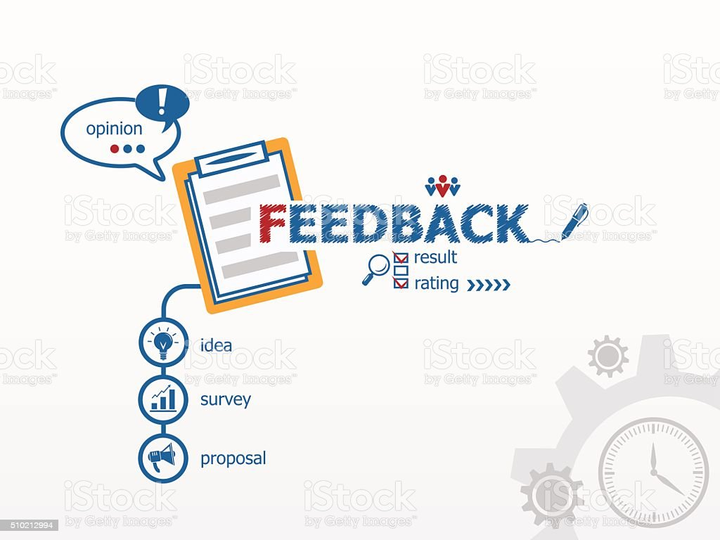 Feedback concept and notebook. vector art illustration