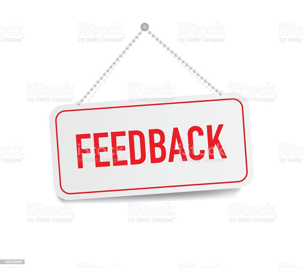 Feedback Hanging Sign Isolated On White Wall stock vector ...