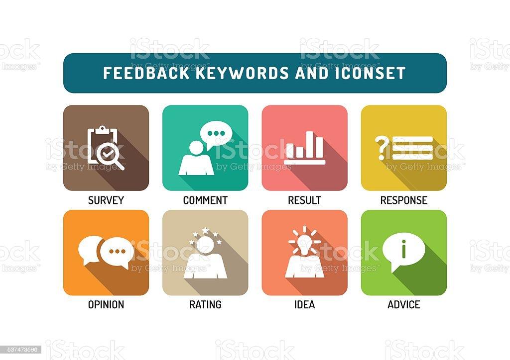 Feedback Marketing Flat Icon Set vector art illustration
