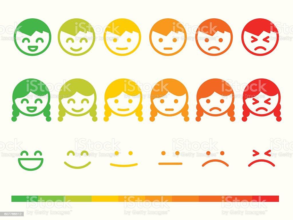 Feedback rate emoticon icon set. Emotion smile ranking bar vector art illustration