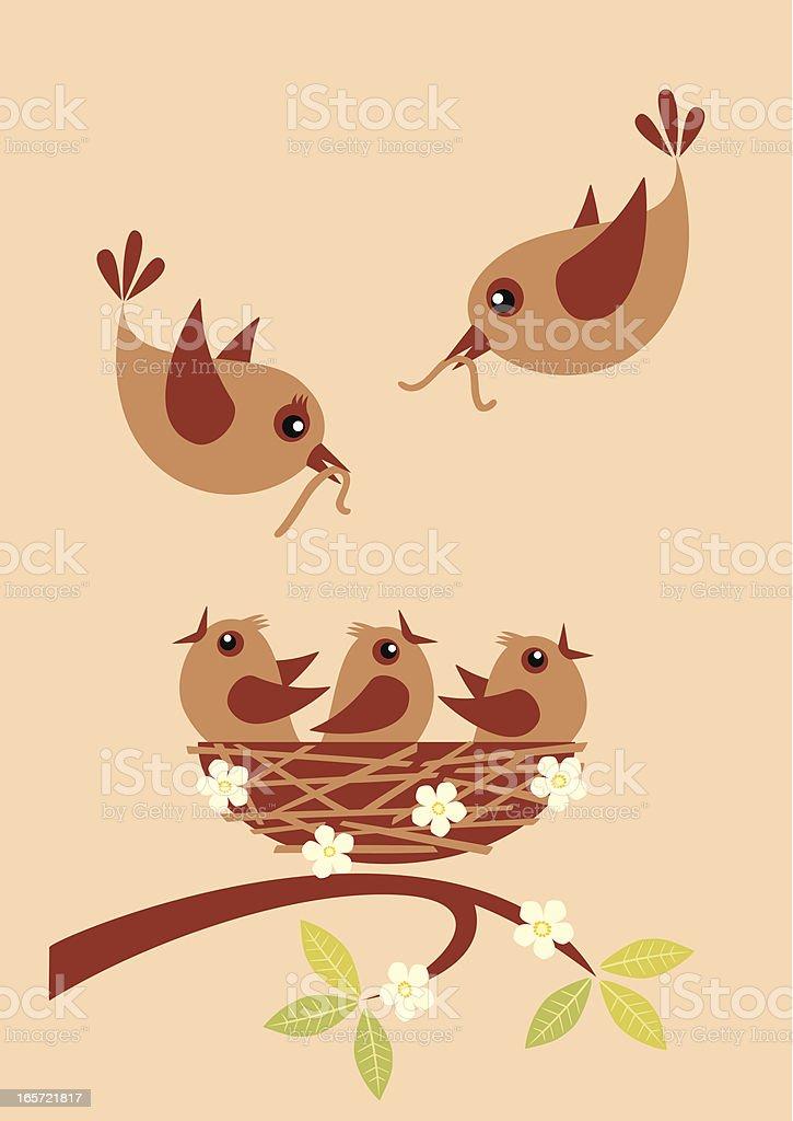 Feeding little birds royalty-free stock vector art
