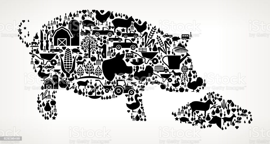 Feeding Pig Farming and Agriculture Black Icon Pattern vector art illustration
