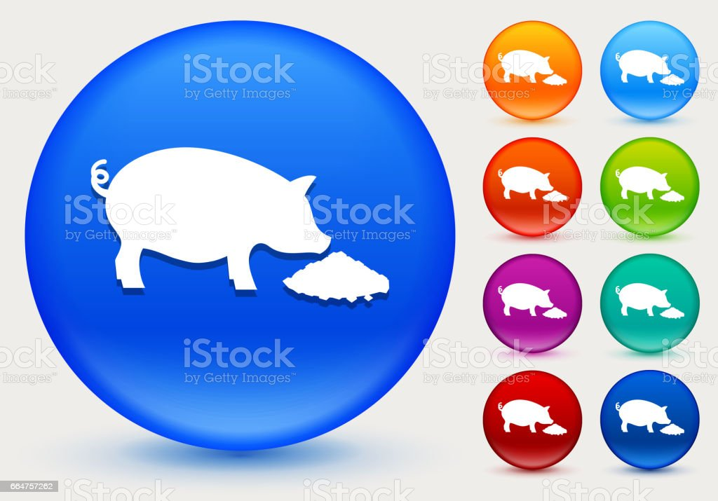 Feeding Pig Icon on Shiny Color Circle Buttons vector art illustration