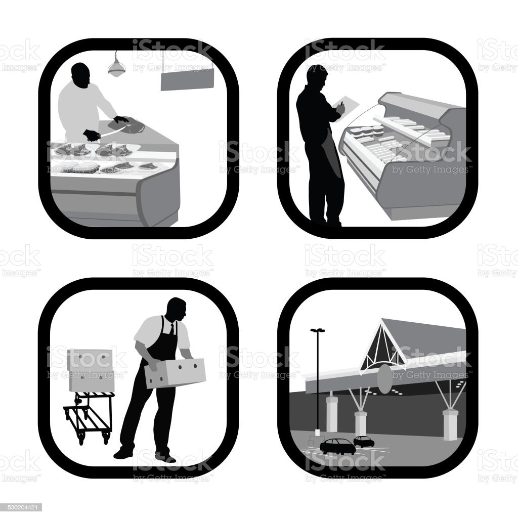FeedingPeople vector art illustration