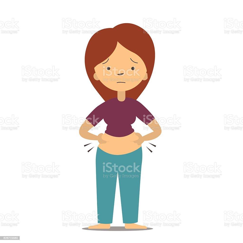 Feel fat girl vector art illustration