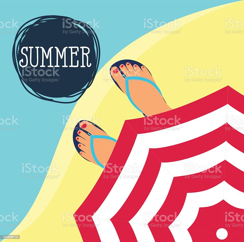feet in slippers on the background of the beach vector art illustration