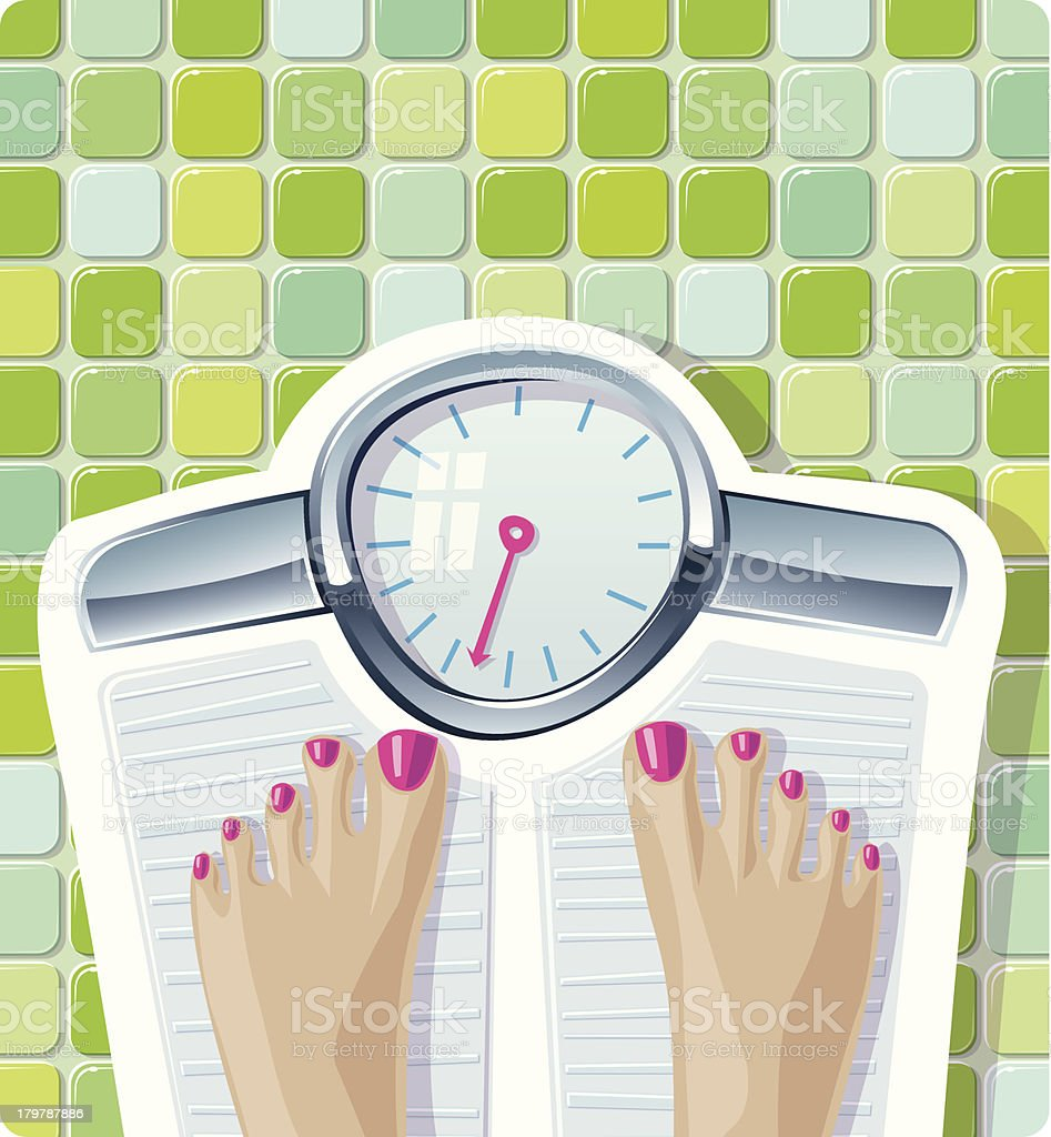 Feet standing and weighing on a scale royalty-free stock vector art