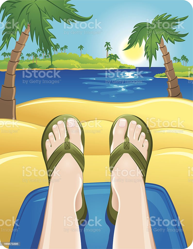 Feet up relaxing at the beach royalty-free stock vector art