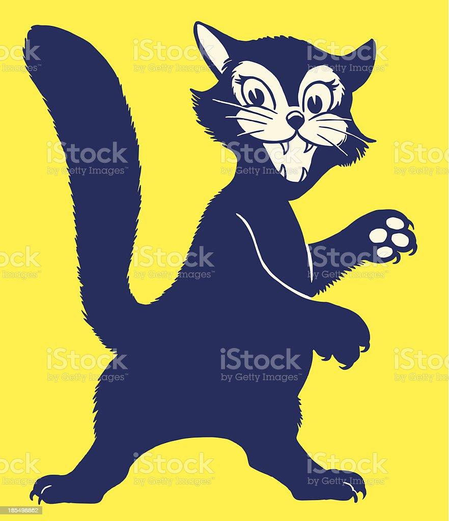 Feisty Black Cat royalty-free stock vector art