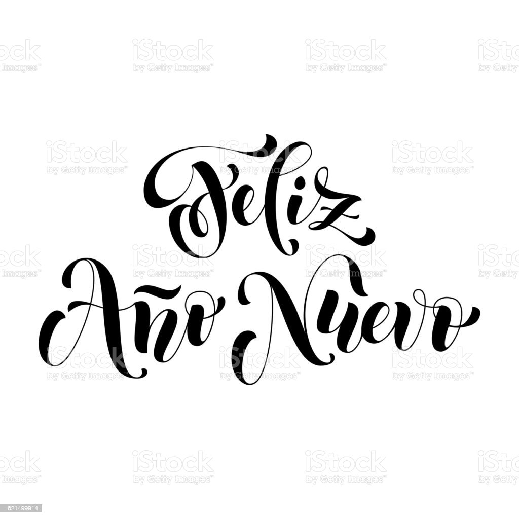 Feliz Ano Nuevo lettering. Spanish Happy New Year vector art illustration