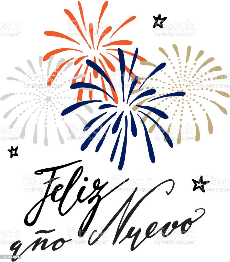 Feliz ano nuevo, Spanish Happy New Year greeting card vector art illustration