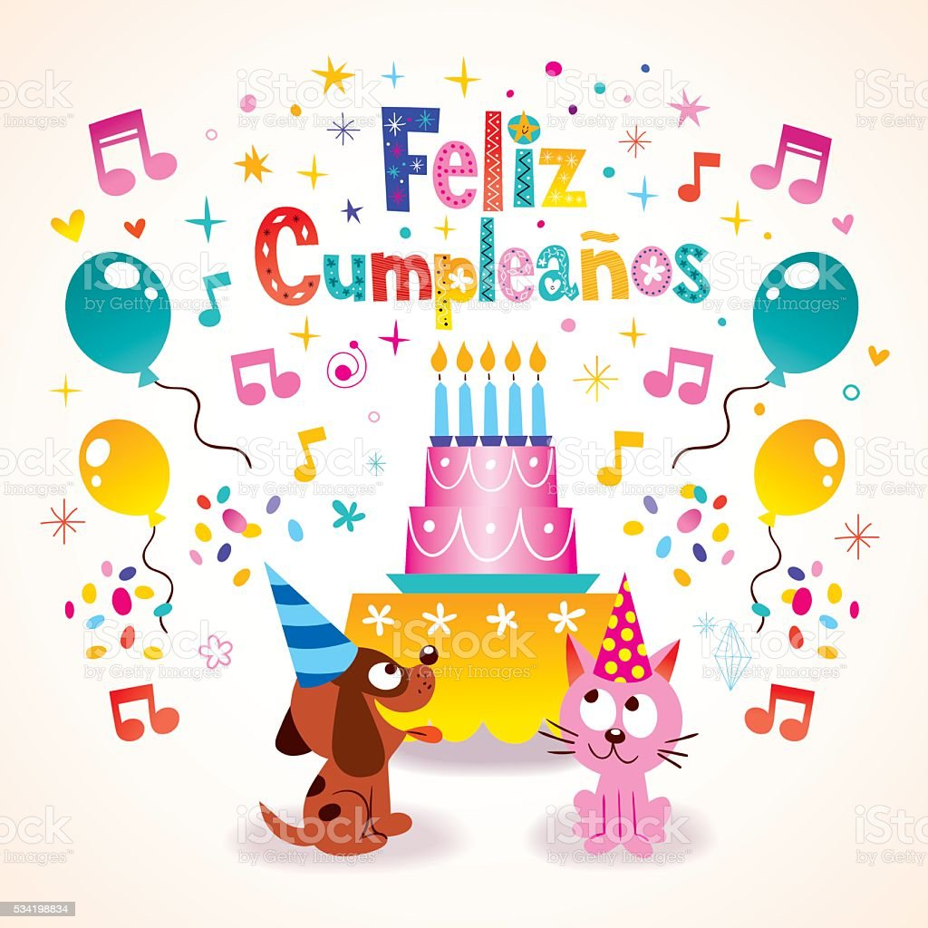 Feliz Cumpleanos Happy Birthday In Spanish Greeting Card stock – Birthday Cards in Spanish