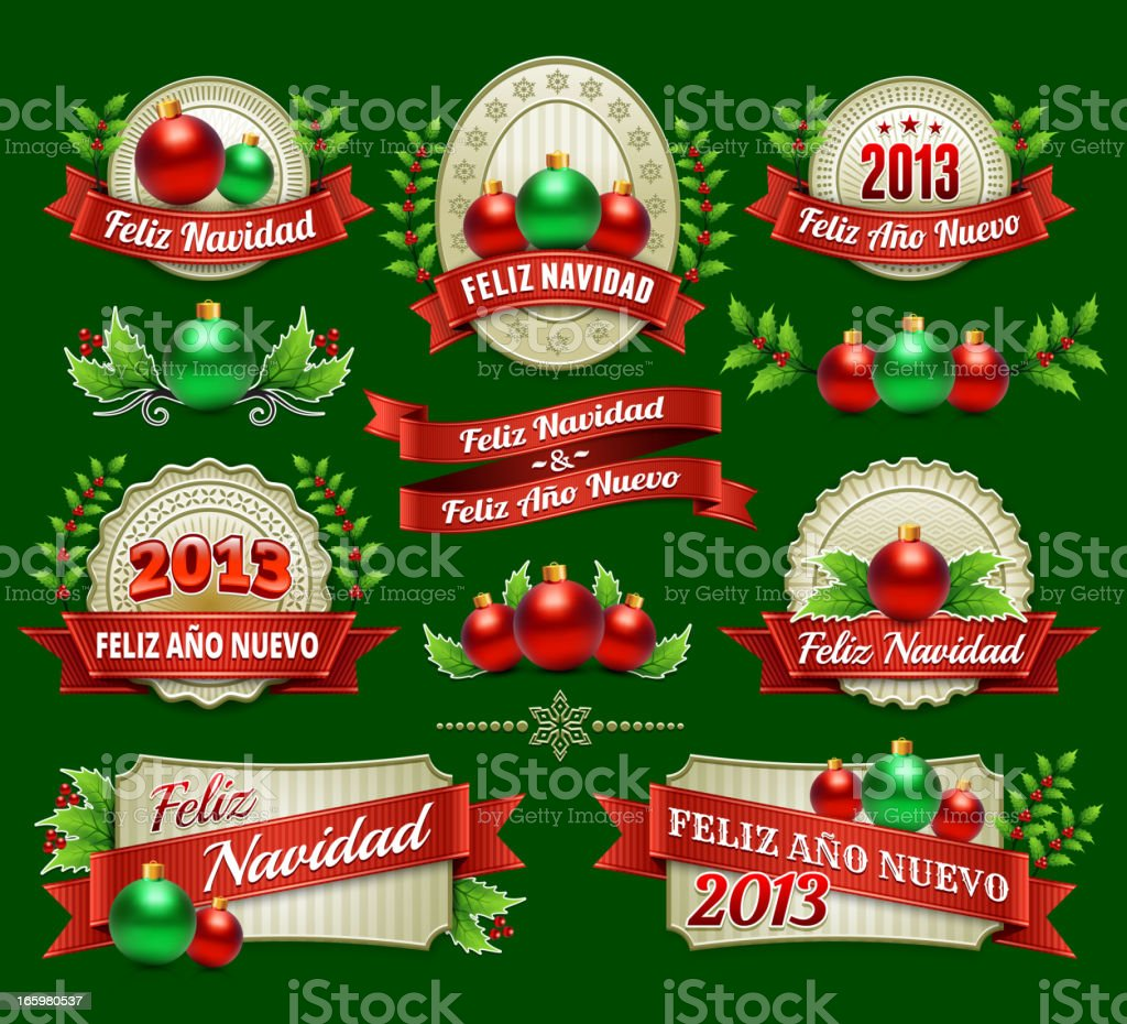 Feliz Navidad Holiday Season and Christmas Badges royalty-free stock vector art