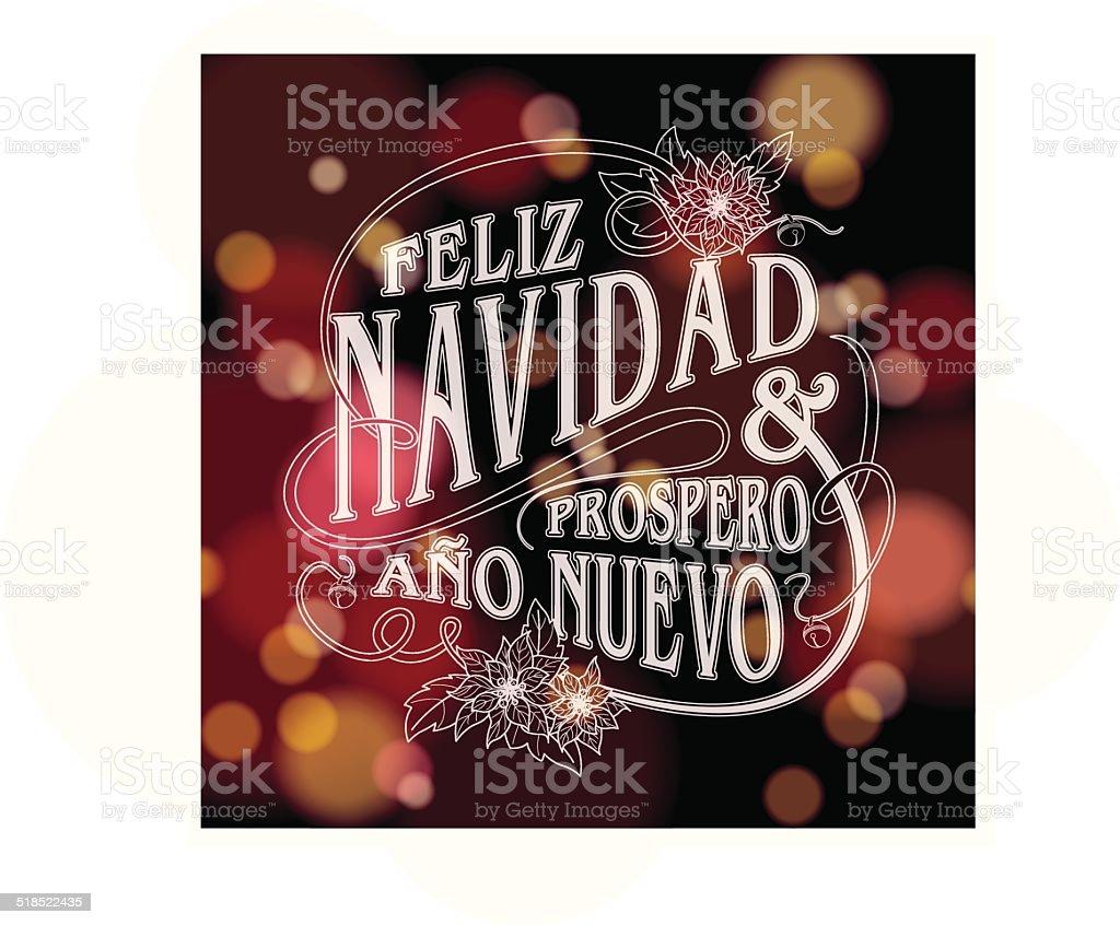 """""""Feliz navidad y prospero año nuevo"""" with sparkling lights vector art illustration"""