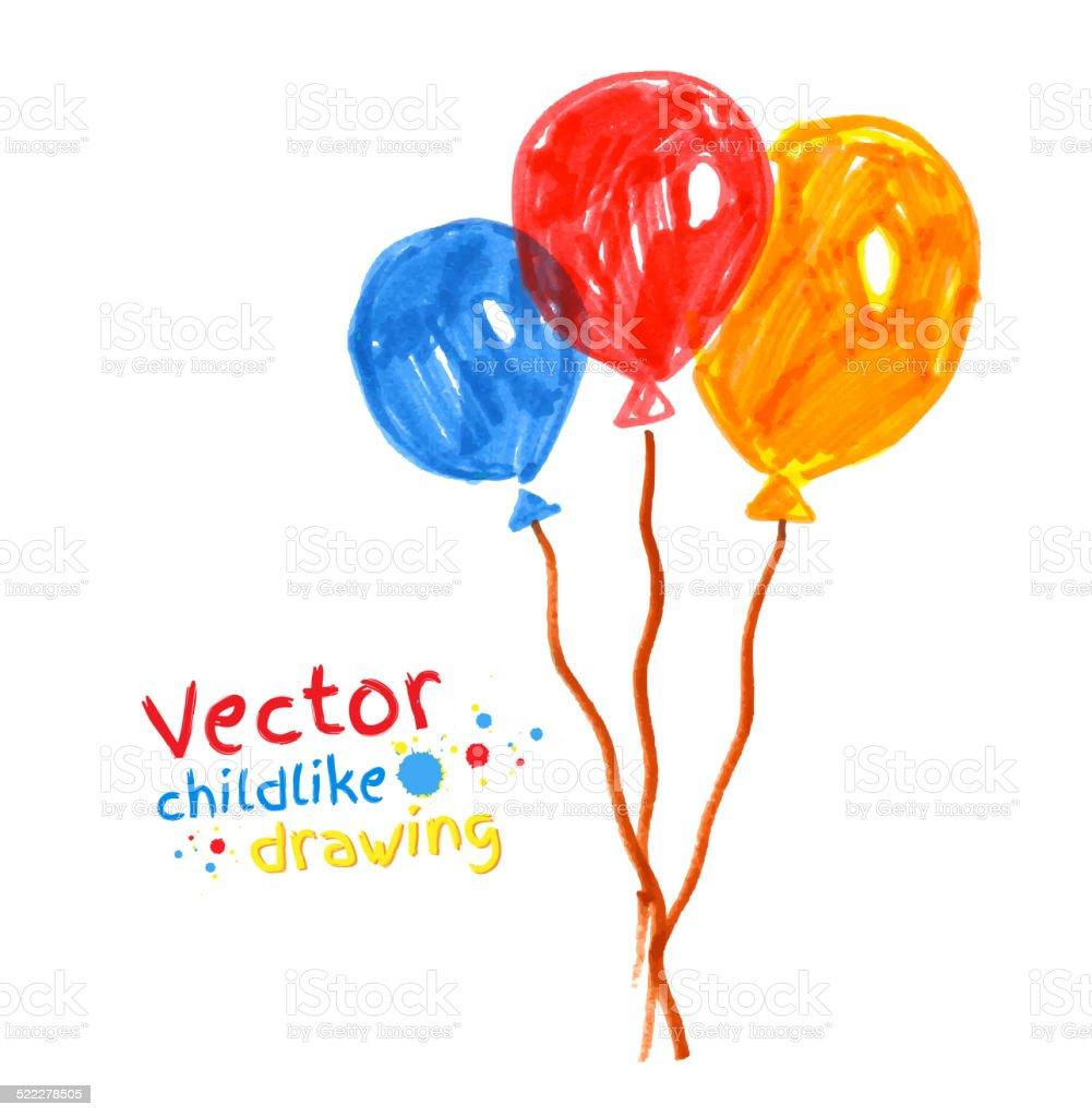 Felt pen childlike drawing of balloons. vector art illustration