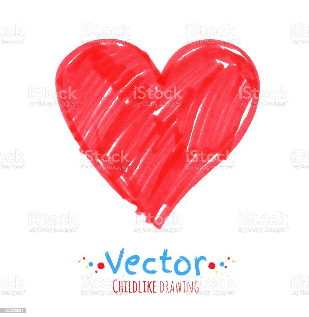 Felt pen childlike drawing of heart. vector art illustration
