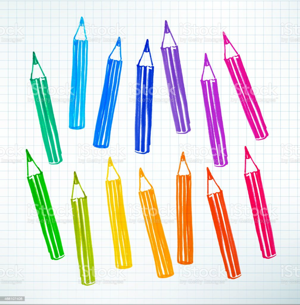 Felt pen drawing of colored pencils vector art illustration