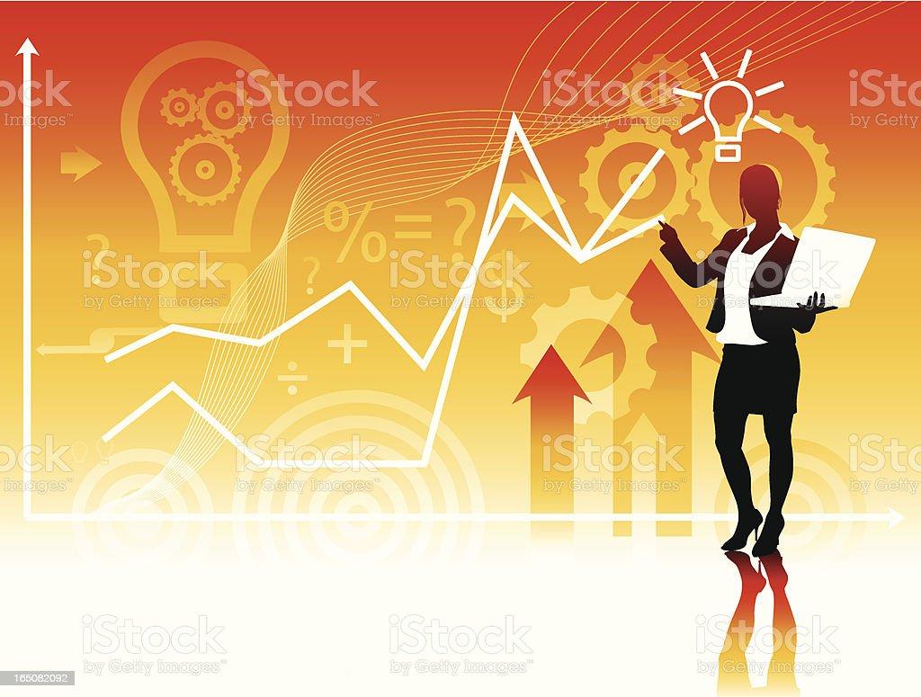 Female Analyst Discussing Financials vector art illustration