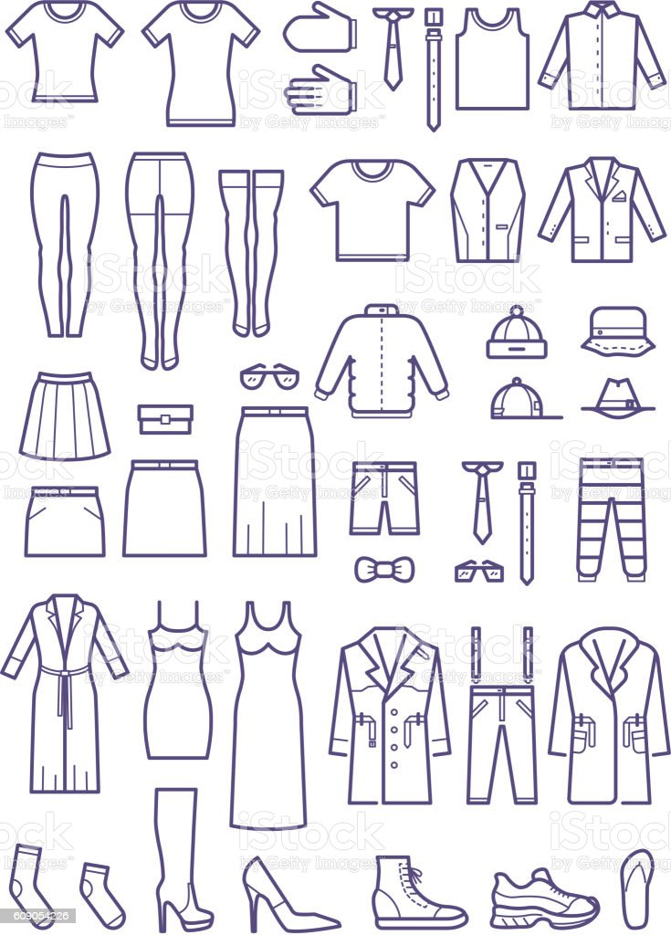 Female and male casual clothes, garment outline vector icons vector art illustration