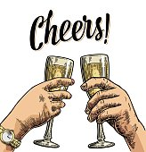 Female and male hands holding and clinking with glasses champagne.