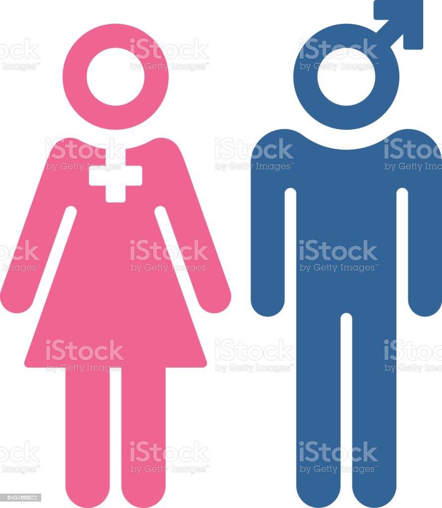 Female and Male People Symbols vector art illustration