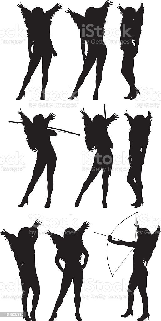 Female angel in various actions vector art illustration