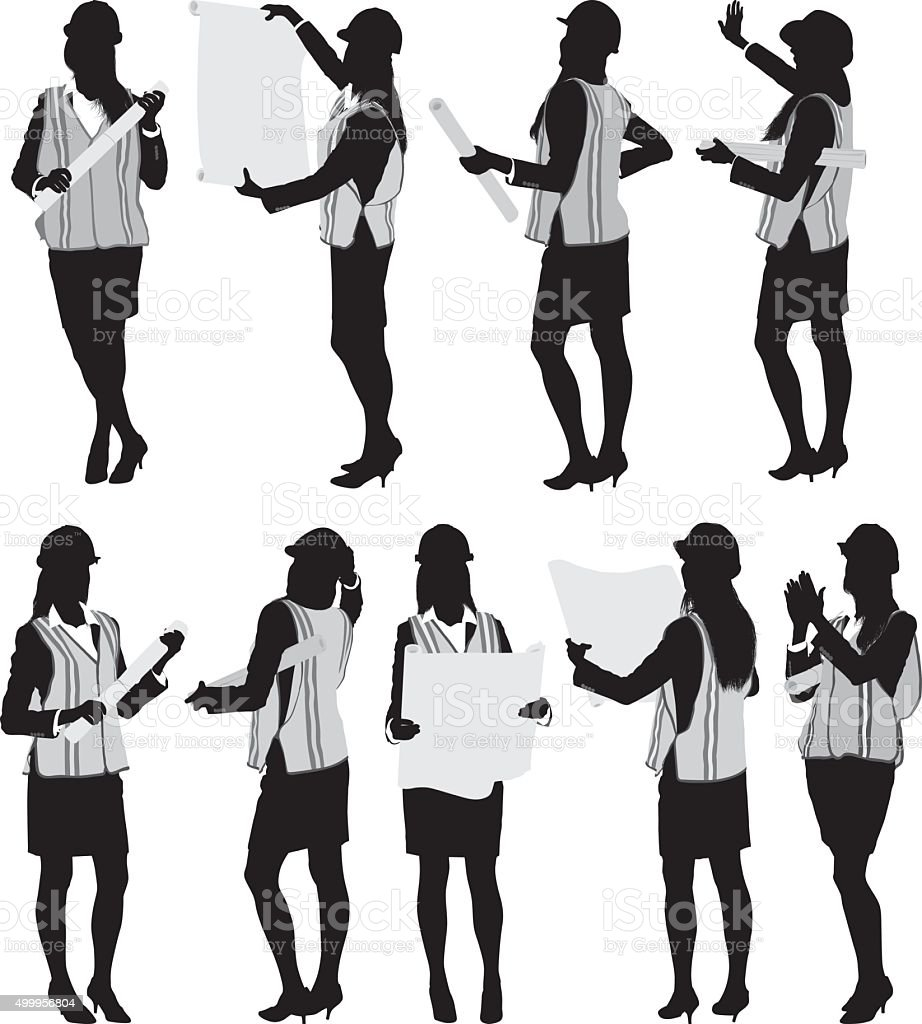 Female architect in various actions vector art illustration