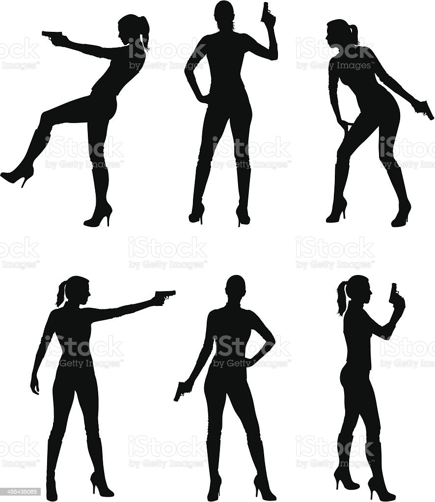 Female assassin silhouettes royalty-free stock vector art