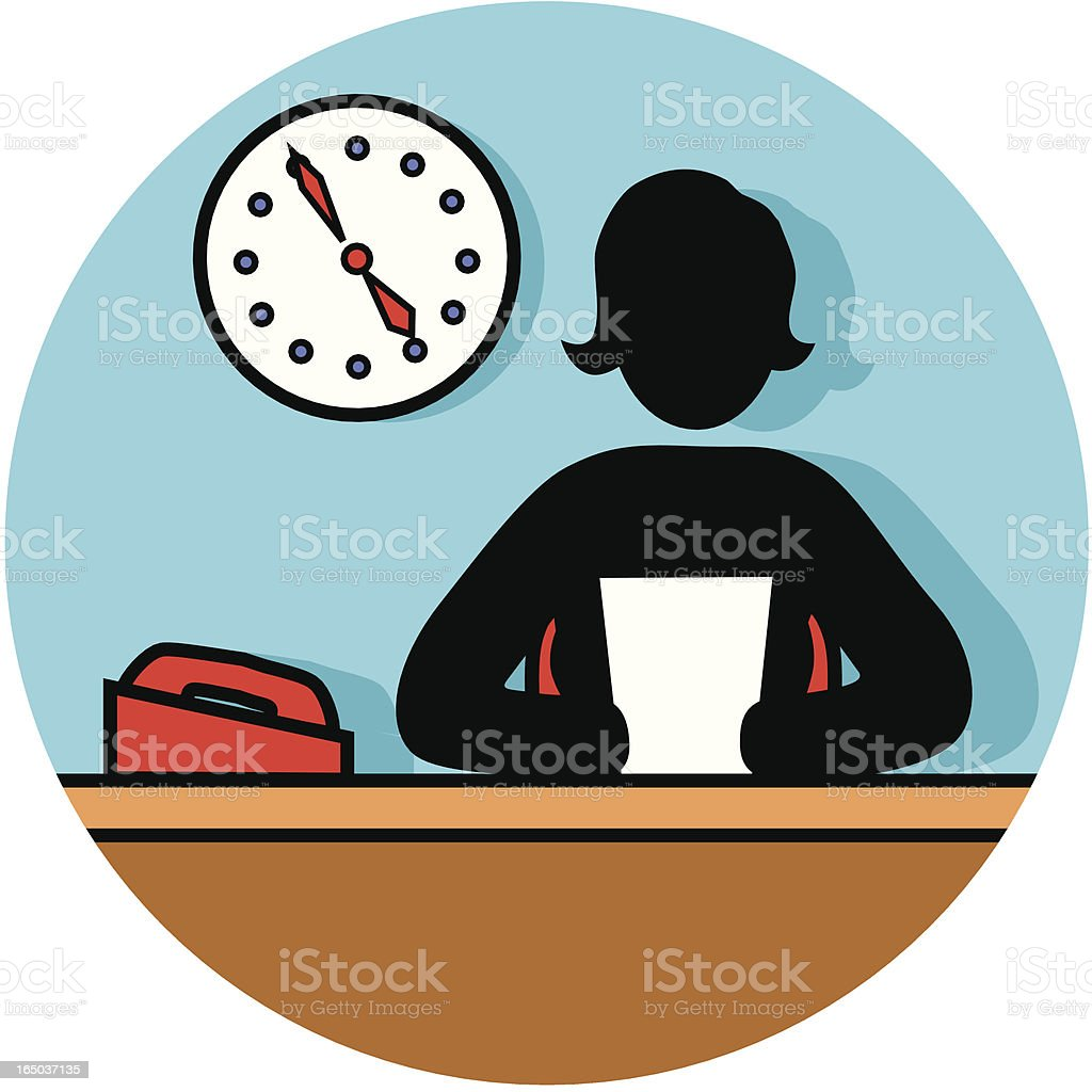 female at a desk icon royalty-free stock vector art