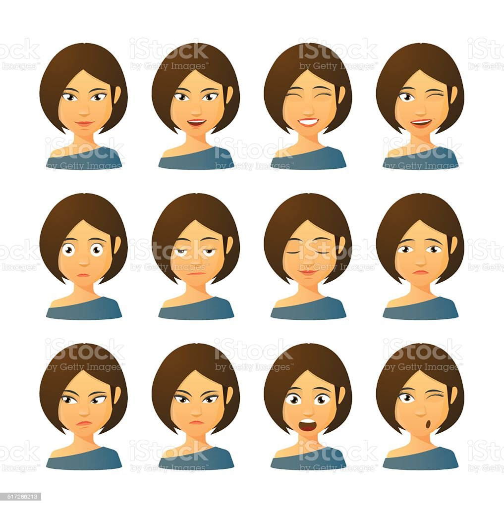 Female avatar expression set vector art illustration