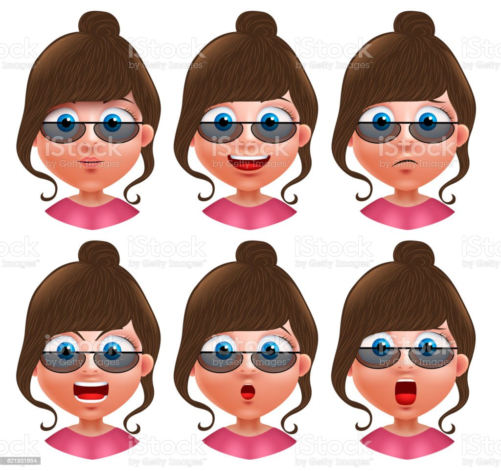 Female avatar vector character girl heads with facial expressions vector art illustration