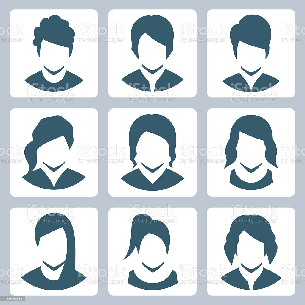 Female avatars vector icon set vector art illustration