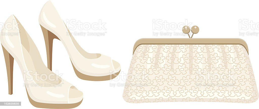 Female bag and shoes. vector art illustration