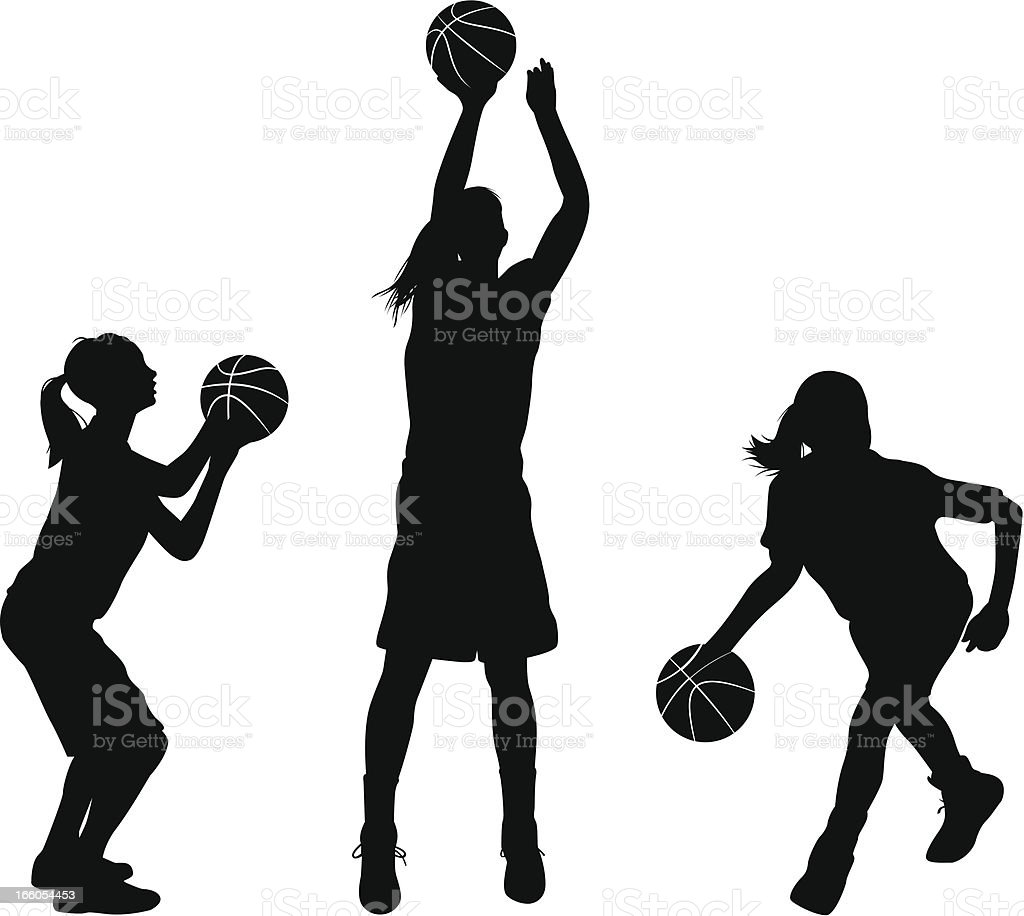 Female Basketball Players vector art illustration