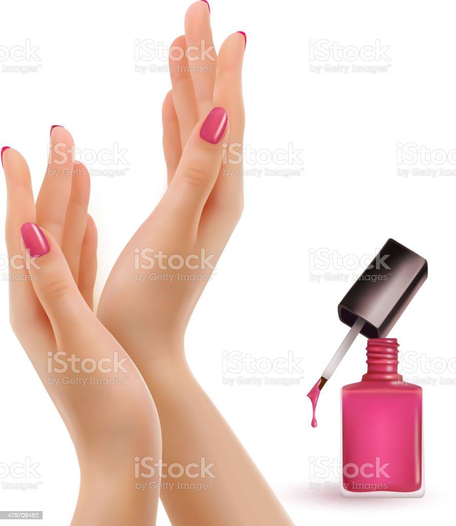 Female beautiful hands with a pink nail polish bottle. Vector. vector art illustration