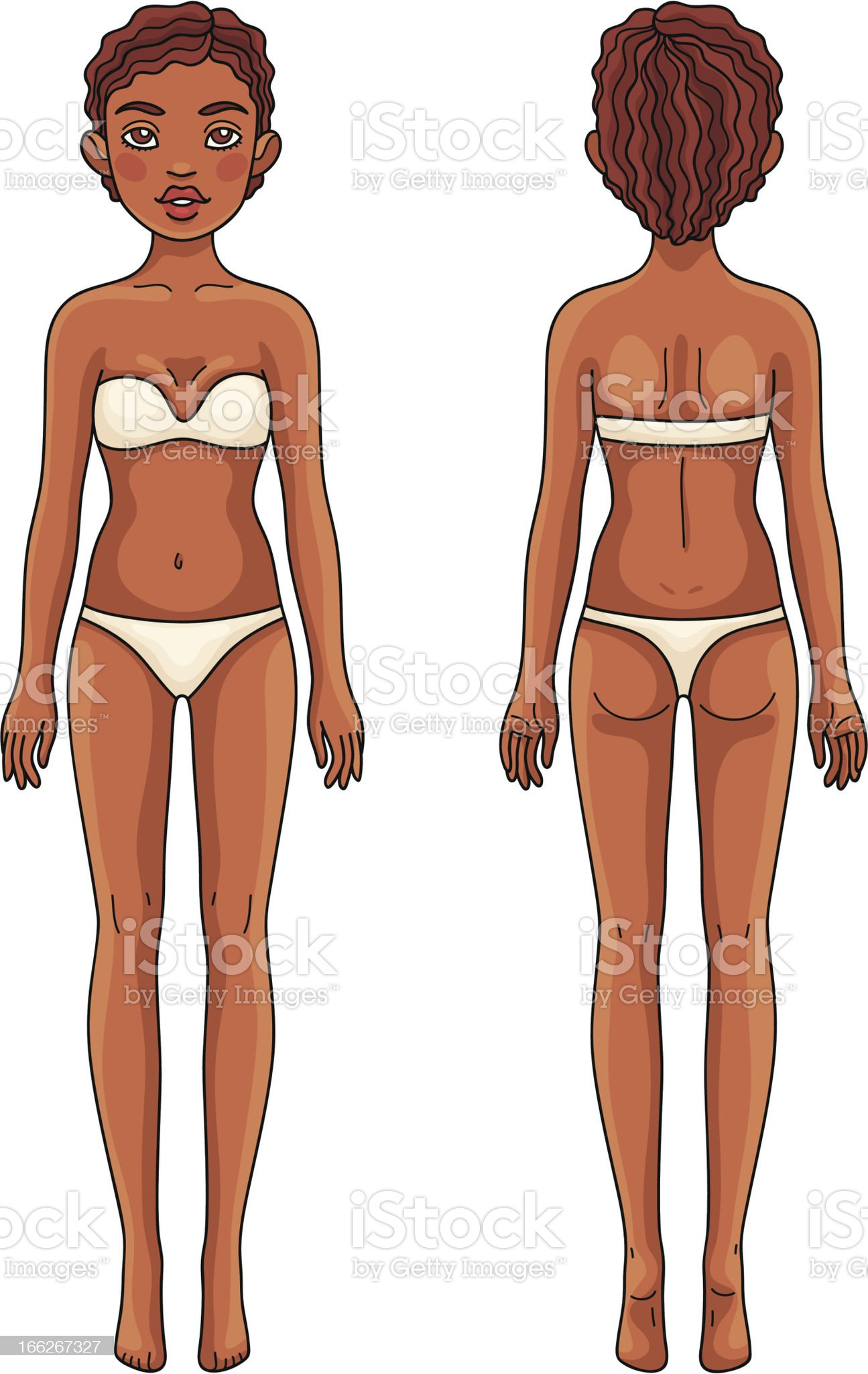 Female body front and back African american girl royalty-free stock vector art
