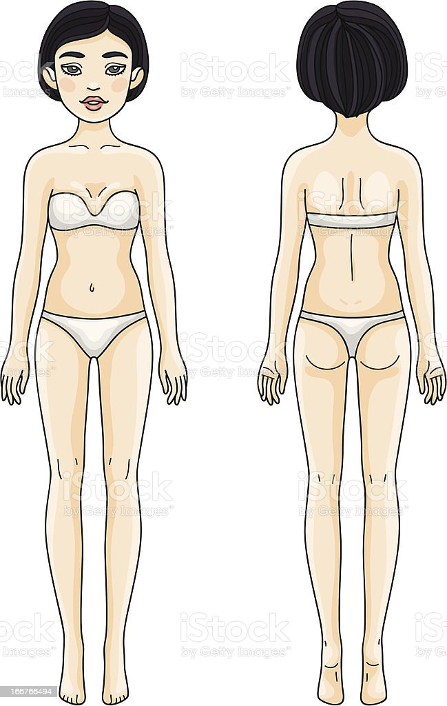 Female body front and back Asian girl royalty-free stock vector art