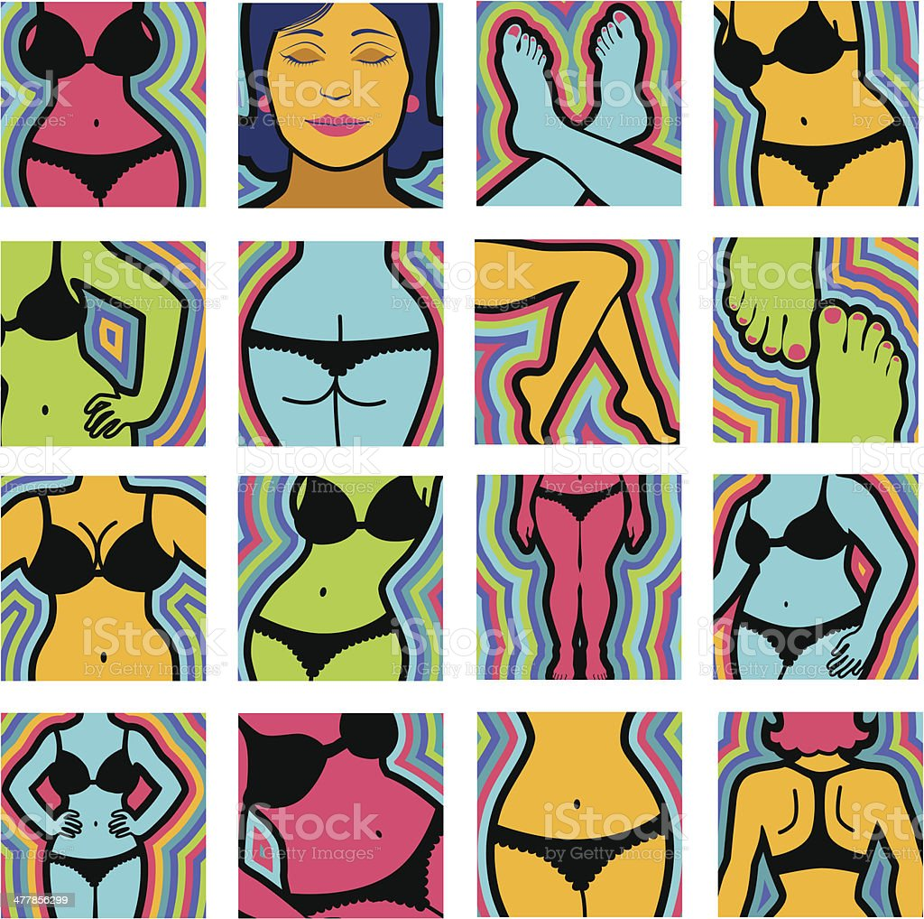 female body parts with black underwear royalty-free stock vector art