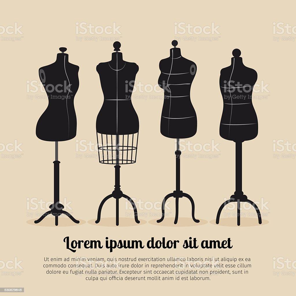 Female body vintage mannequin set vector art illustration