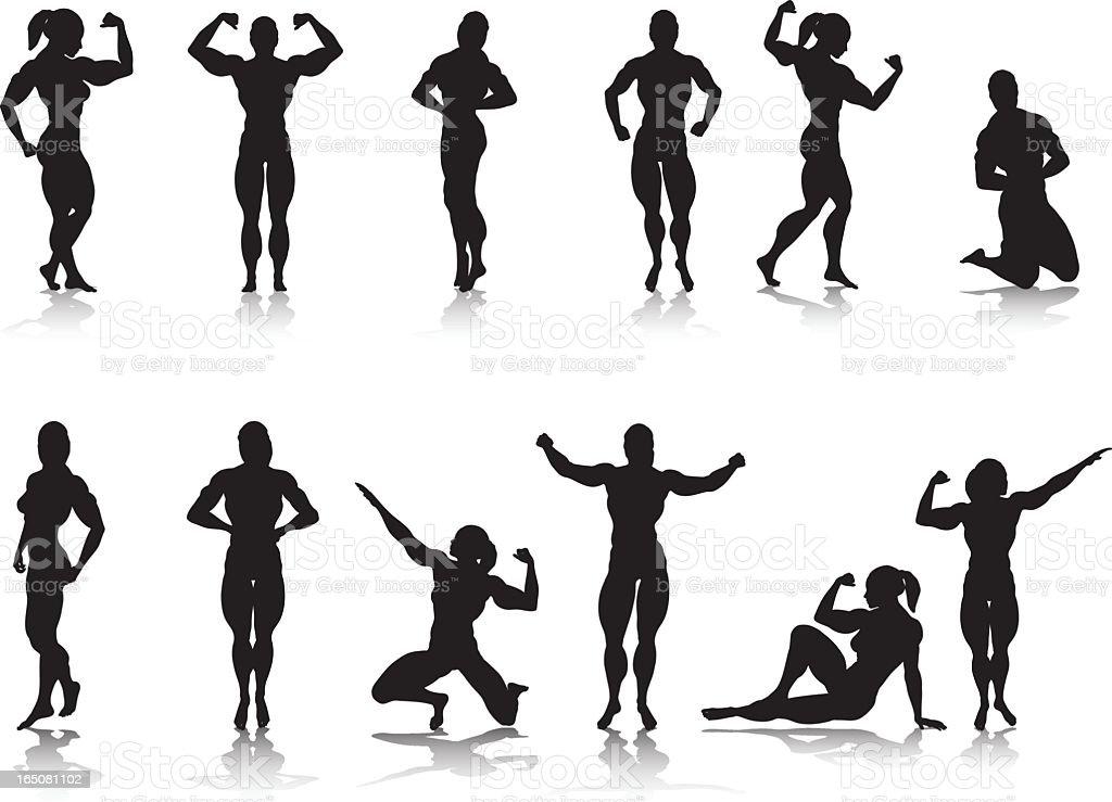 Female Bodybuilder Silhouette Collection vector art illustration