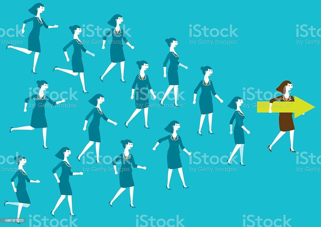 Female Business Team and Leader (Arrow) | New Biz vector art illustration
