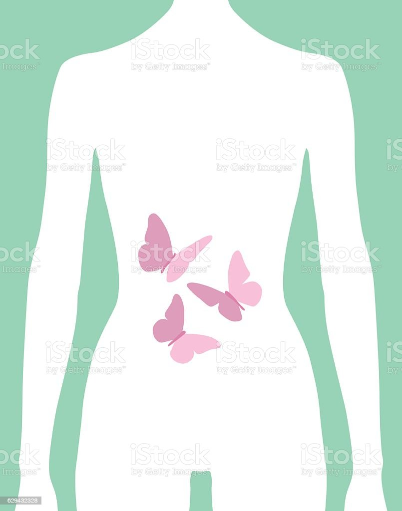 Female Butterflies In Stomach Icon vector art illustration